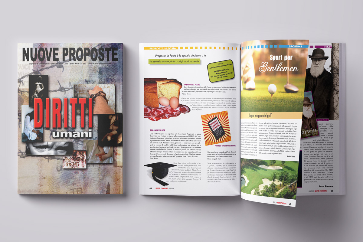 Copertina e impaginato rivista mensile stampa A4